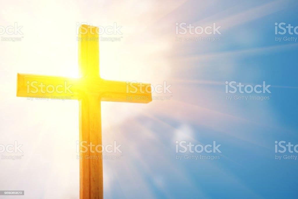 crucifix sky and light stock photo