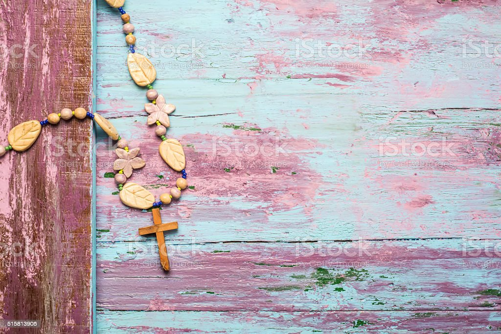 Crucifix wooden background stock photo
