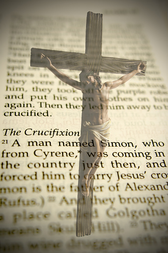 Crucifixion And Bible Passage Stock Photo - Download Image