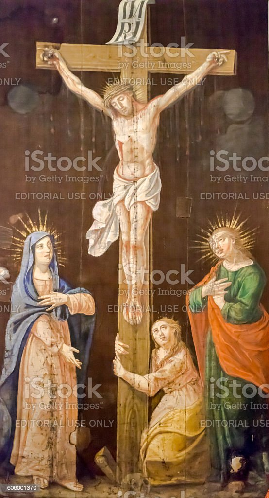 Crucifixion, Blessed Virgin Mary and Saint John under the cross stock photo