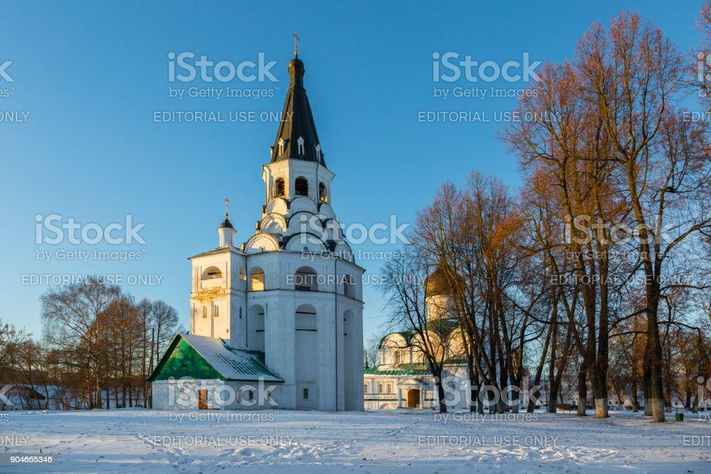 Crucifixion church bell tower in Aleksandrovskaya sloboda, Russia stock photo