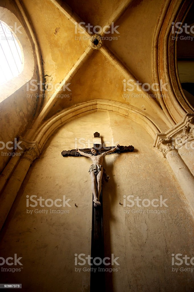 Crucifixion of Christ. Inside the old Abby in Chartres, France. royalty-free stock photo