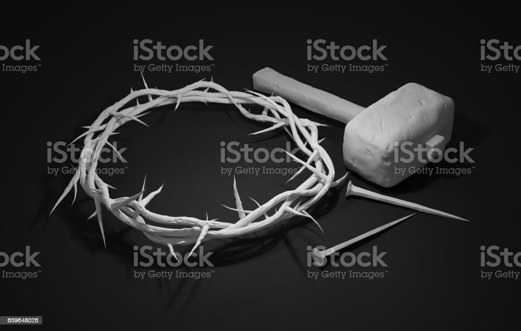 Crucifixion Of Jesus Christ - Cross With Hammer Nails And Crown Of Thorns 3D Rendering Dark Background stock photo