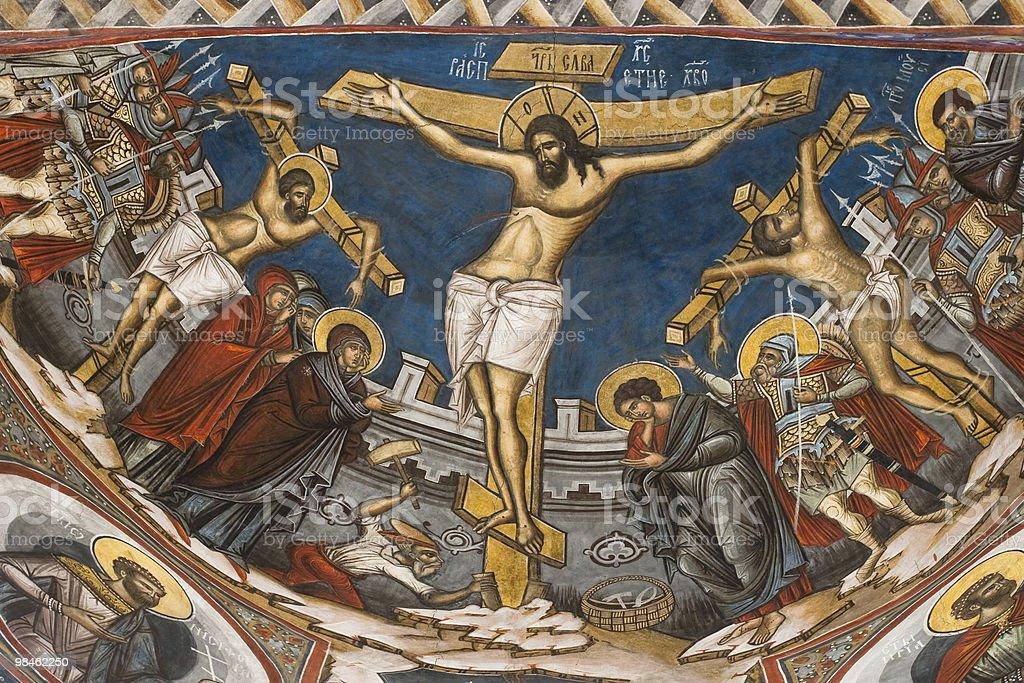Crocifissione di Gesù. Icona dal Modovita Monastero, Romania foto stock royalty-free