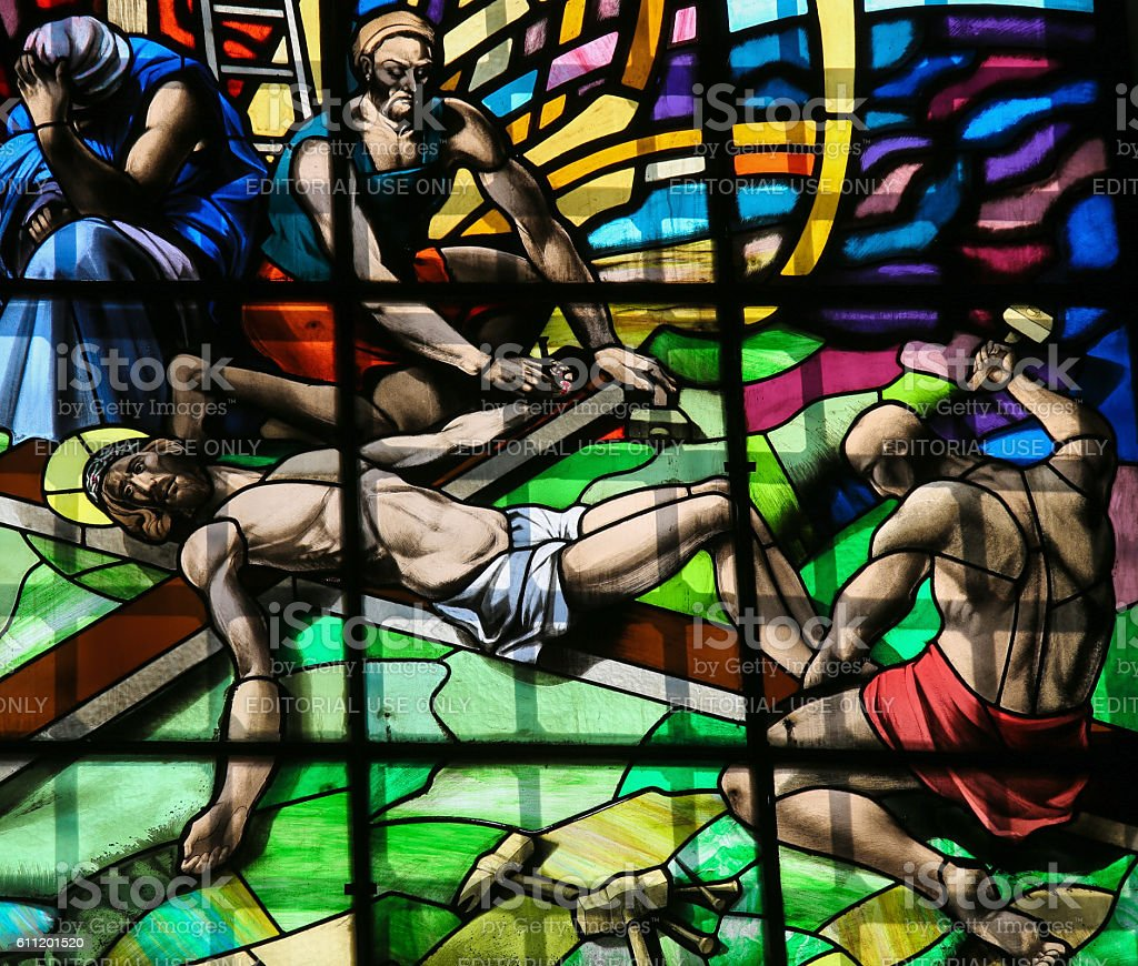 Crucifixion of Jesus - Stained Glass in Guimaraes stock photo
