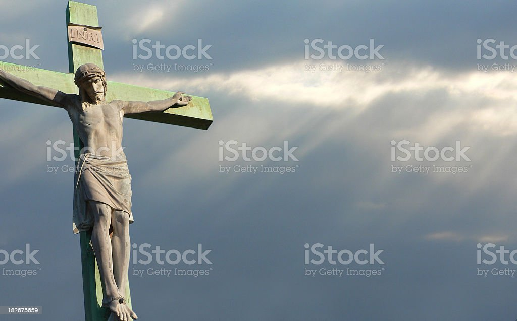 Crucifixion with dark sky royalty-free stock photo