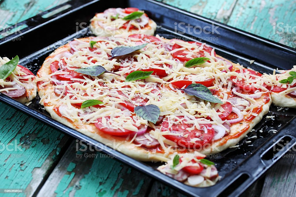 Crude homemade pizza royalty-free stock photo