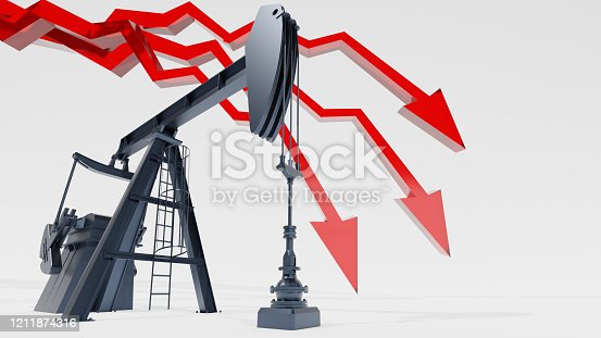 istock Crude oil market crash concept. Red arrow and oil pumpjack on white background. Digital 3D render. 1211874316