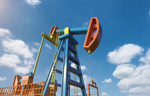 3d rendering crude oil pump or oil rig with blue sky