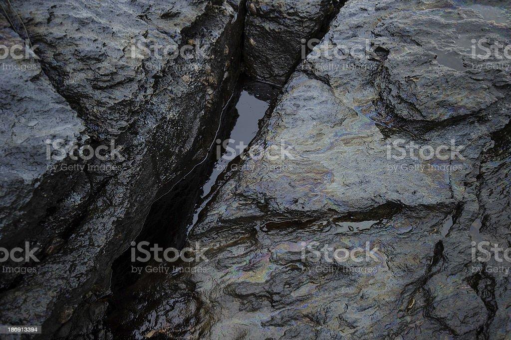 crude oil spill on Ao Prao Beach at Samet island royalty-free stock photo