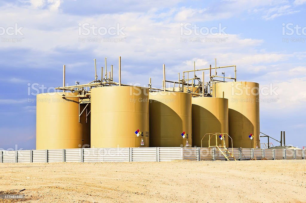 Crude Oil Storage Tanks in Central Colorado, USA stock photo