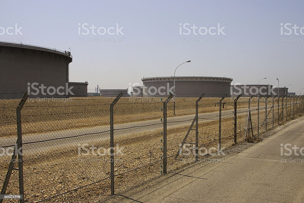 Crude Oil Tank Farm stock photo