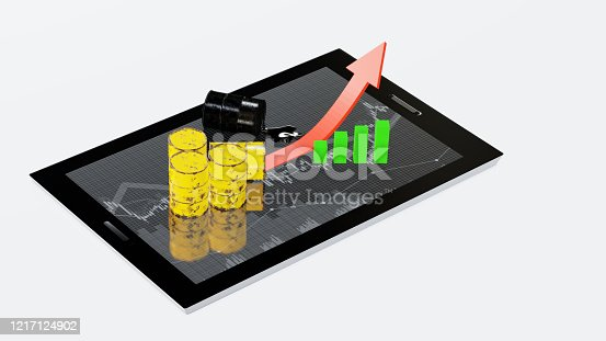 istock Crude oil trade, Stock market, Business oil trade with green graph and arrow up flow on the screen of a tablet, Oil fuel market. 3d render. 1217124902