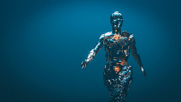 crudely shaped humanoid figure - cyborg stock photos and pictures