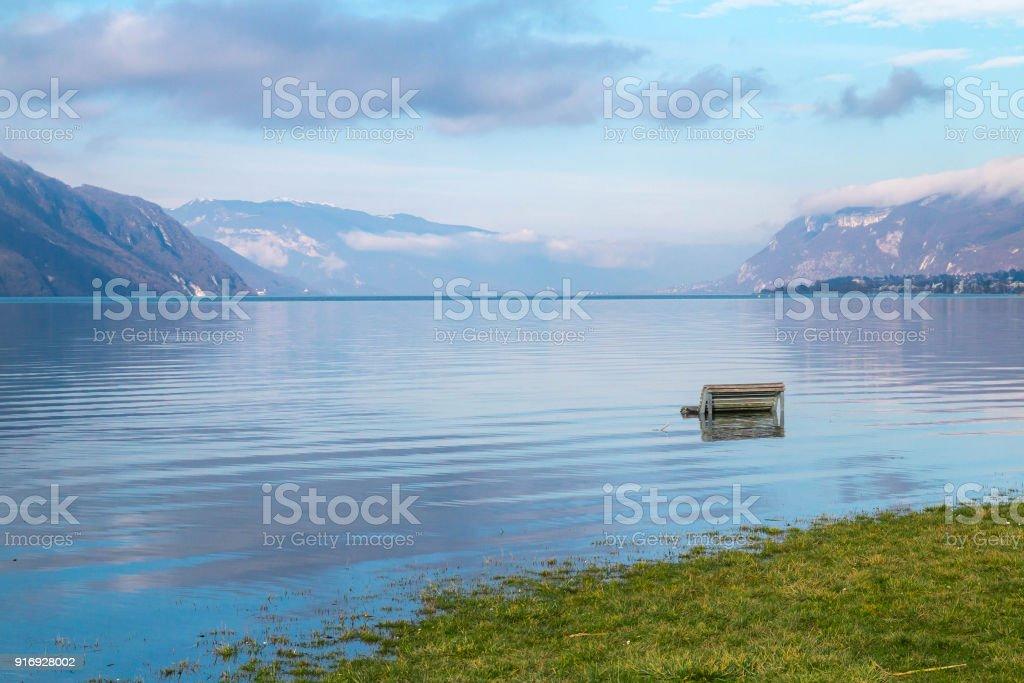 Hiver de fr crue du Lac du Bourget - Photo