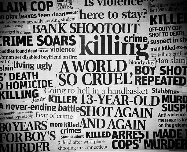 Cruel World headline collage stock photo