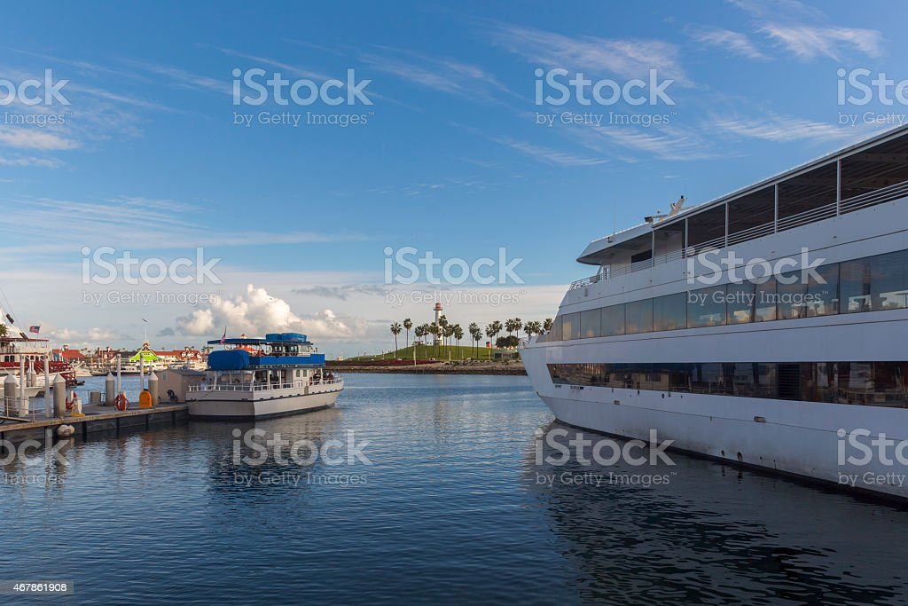 Cruise and boat in Long Beach Pier stock photo