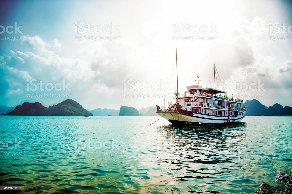 Cruise boat in Halong bay vietnam stock photo