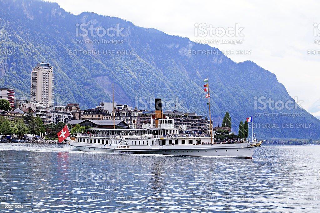 Cruise boat La Suisse on Lake Geneva stock photo