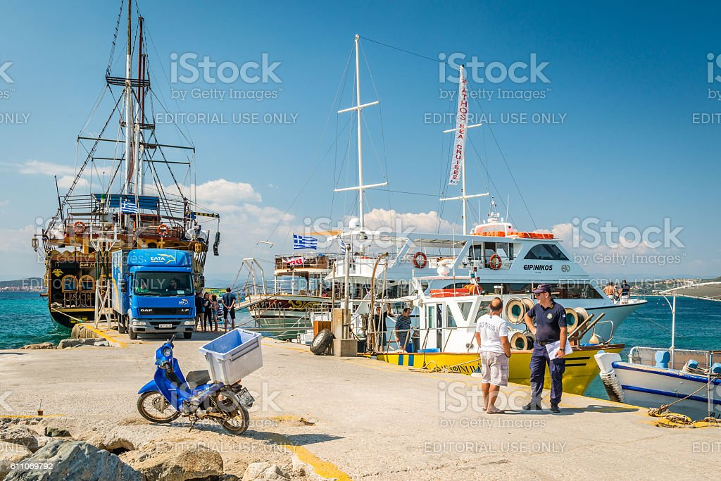 Cruise boats in Ouranoupoli, Athos peninsula, Greece stock photo