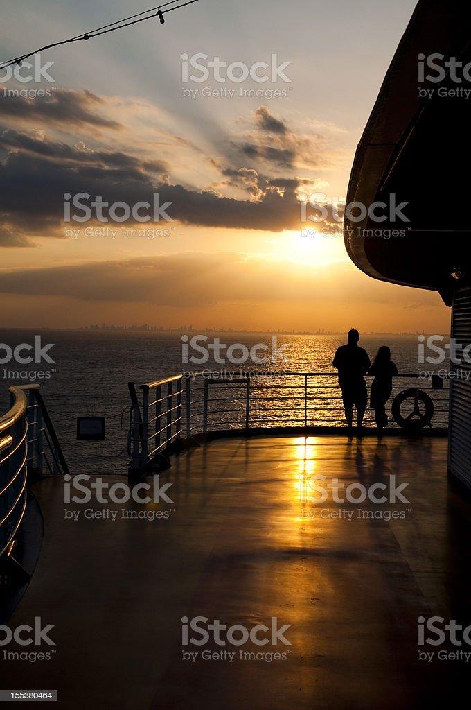 Cruise Couple At Sunset Stock Photo