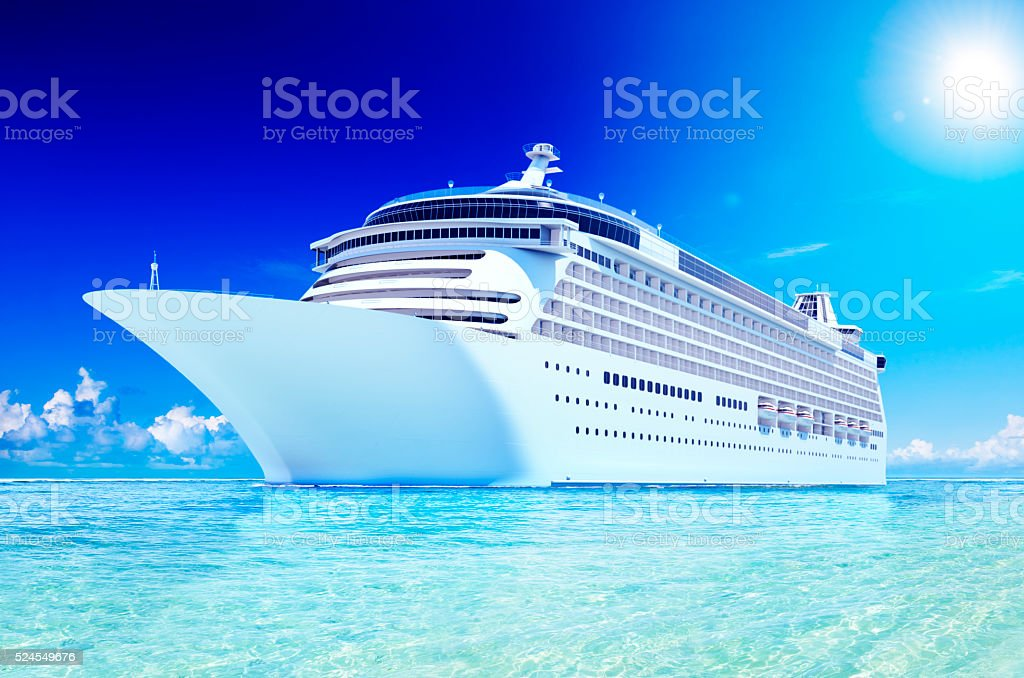 3D Cruise Destination Ocean Summer Island Concept stock photo