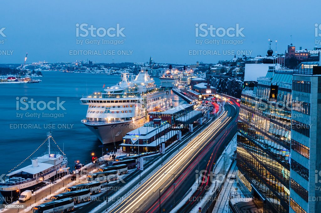Cruise ferry harbor of Stockholm, Sweden stock photo