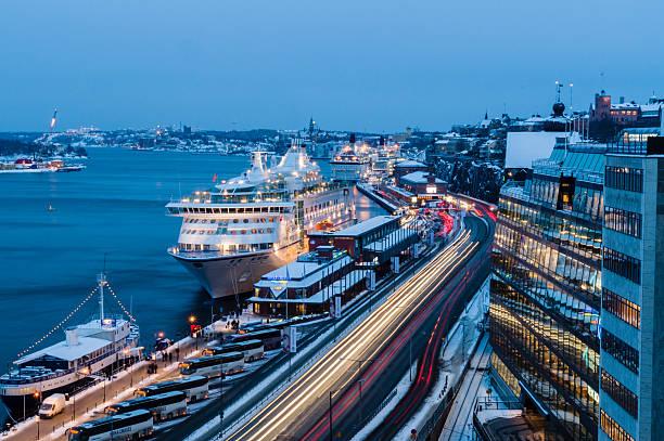 cruise ferry harbor of stockholm, sweden - ferry lake sweden bildbanksfoton och bilder