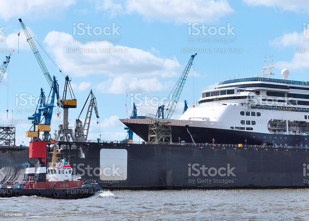 Cruise liner at a shipyard stock photo