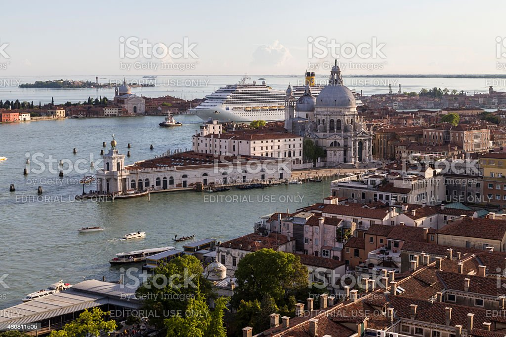 Cruise Liner Crossing the Venetian Lagoon stock photo