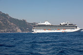Cruise liner in the Amalfi coast. Campania, Italy