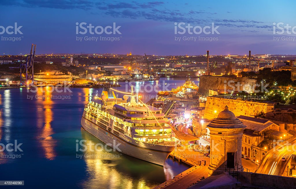 Cruise liner in the port of Valletta - Malta stock photo
