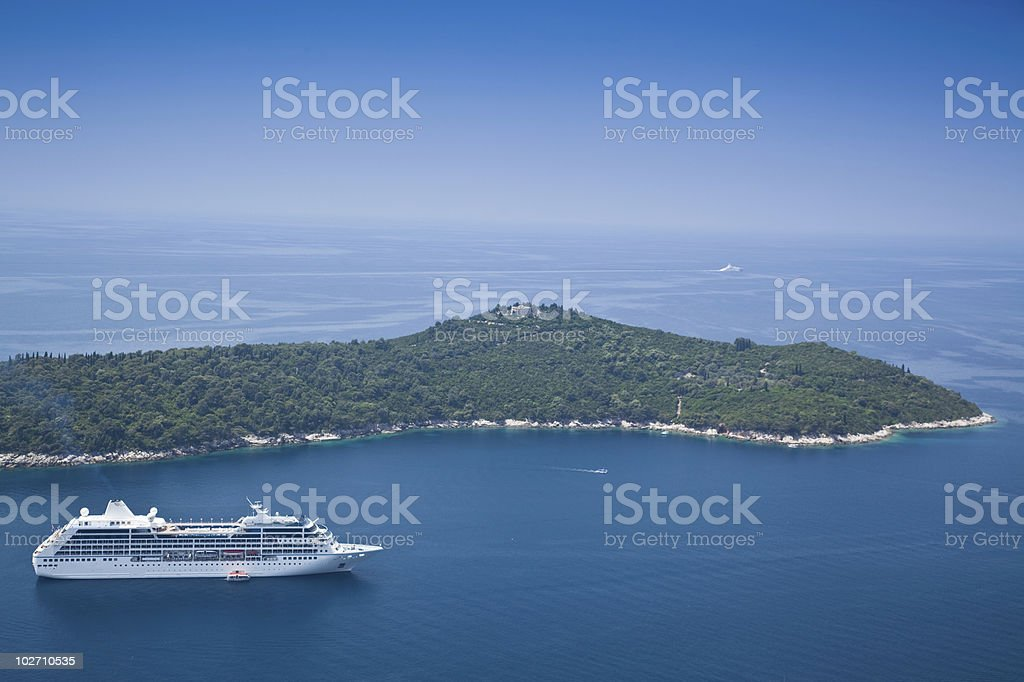 Cruise Liner moored off the Island of Locrum near Dubrovnik royalty-free stock photo