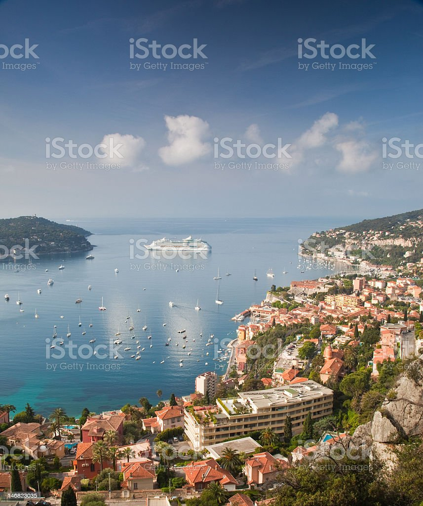 Cruise liner moored off Villefranche-sur-Mer stock photo