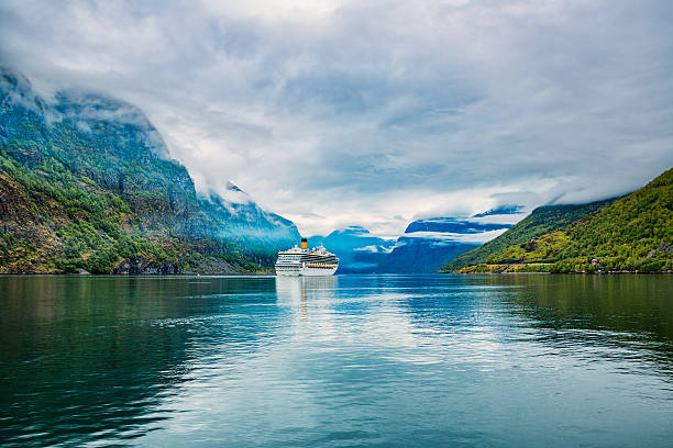 cruise liners on hardanger fjorden - fjord stock photos and pictures