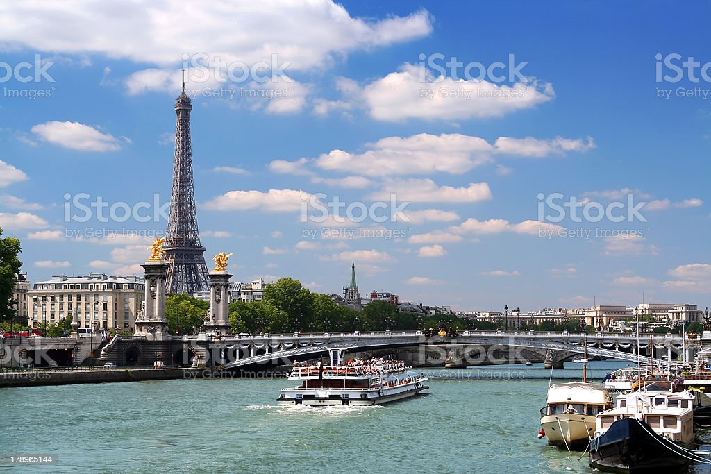 Cruise on the Seine river stock photo