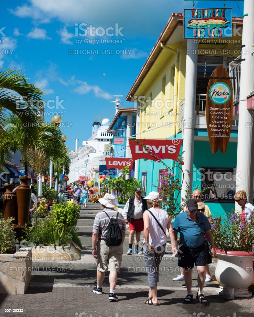 Cruise passengers in St. John's, Antigua stock photo