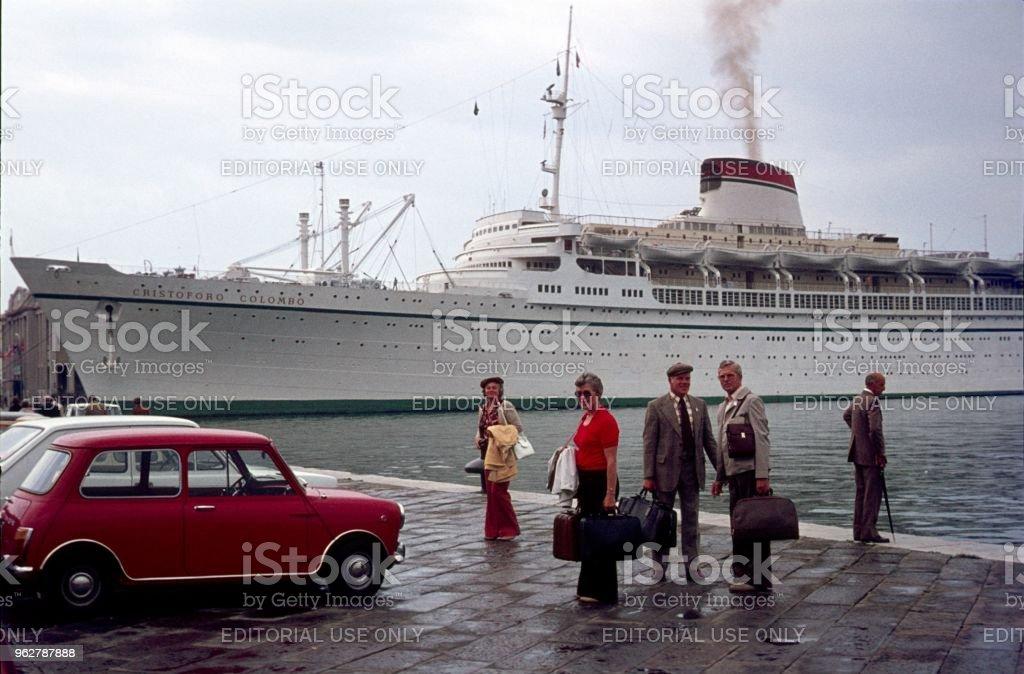 Cruise passengers in the port of Genoa stock photo