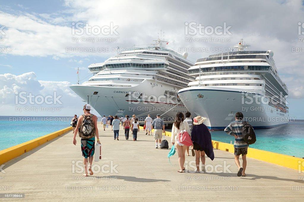 Cruise Passengers Return to Ships, Grand Turk Island, Caribbean stock photo