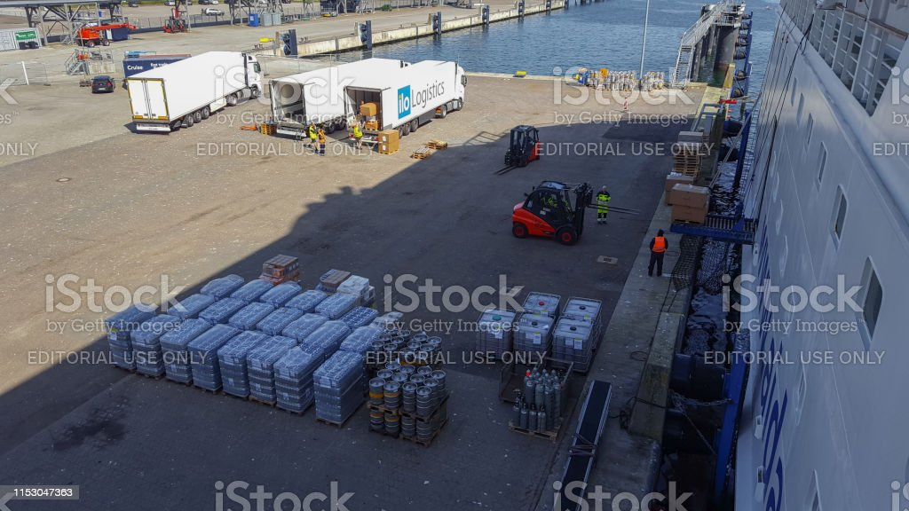 Cruise ship Aida is loaded with food in the harbor of Kiel, Germany