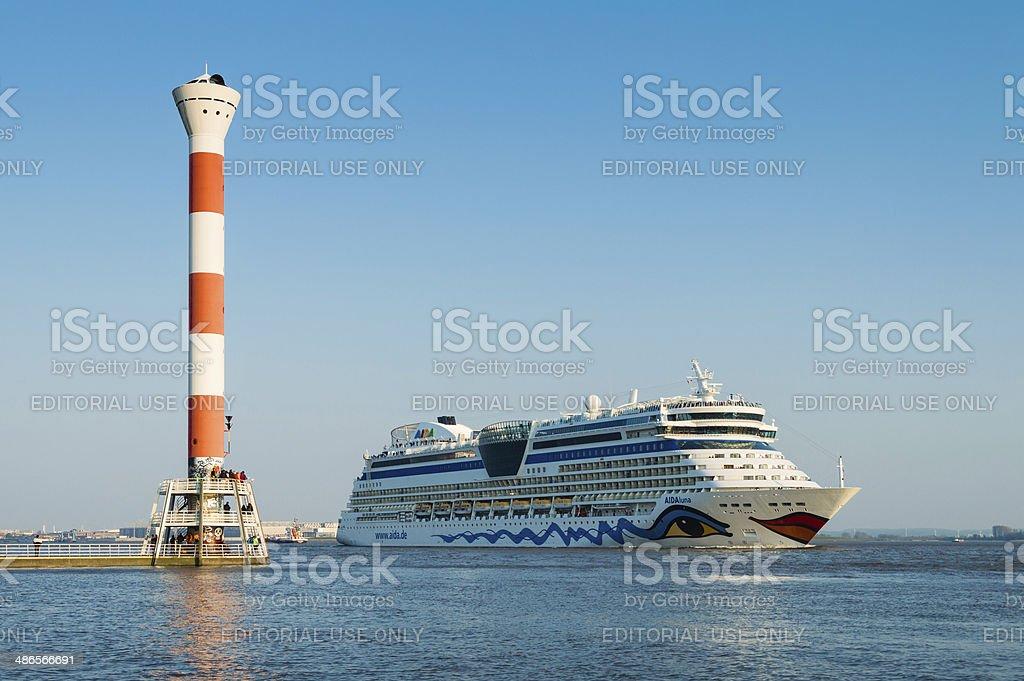 Cruise ship AIDA luna leaving the harbor stock photo