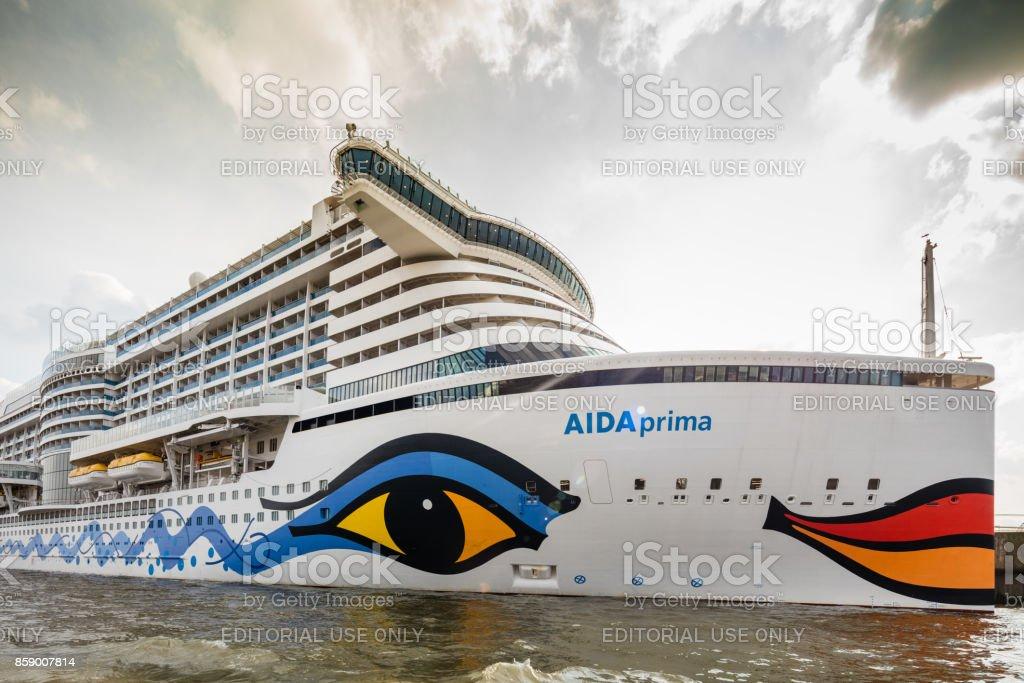 Cruise ship Aida prima in Hamburg harbour stock photo