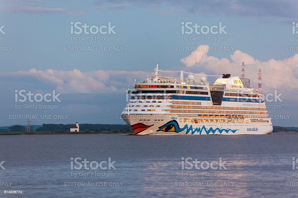 Cruise ship AIDAbella on the Elbe river stock photo