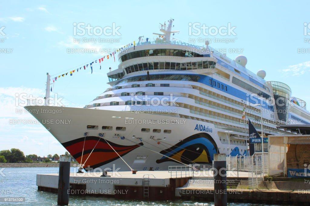 Cruise ship AIDAdiva at the cruise ship terminal in Rostock-Warnemuende, Germany stock photo
