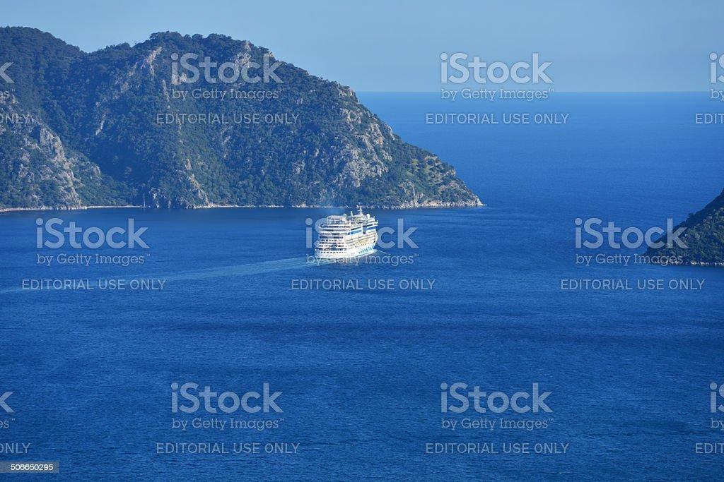 Cruise ship AIDAdiva in Marmaris bay, Turkey stock photo