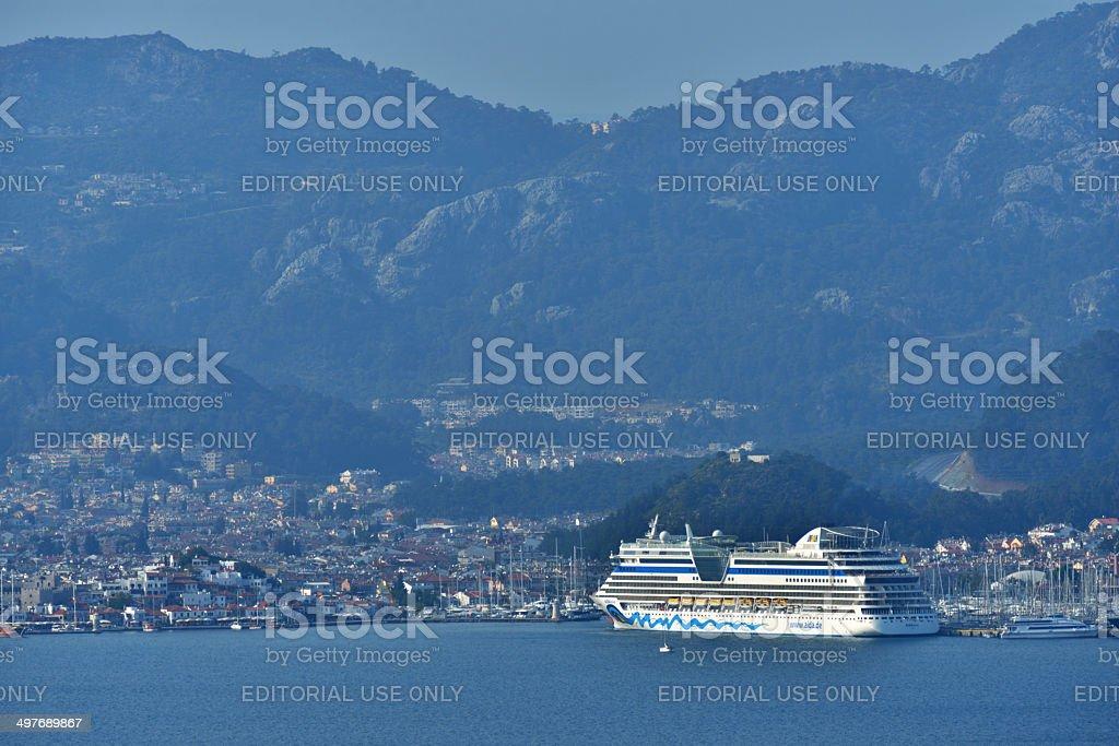 Cruise ship AIDAdiva in Marmaris, Turkey stock photo