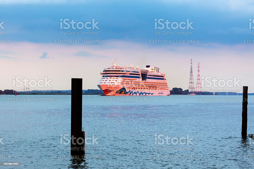 Cruise ship AIDAdiva on the Elbe river stock photo