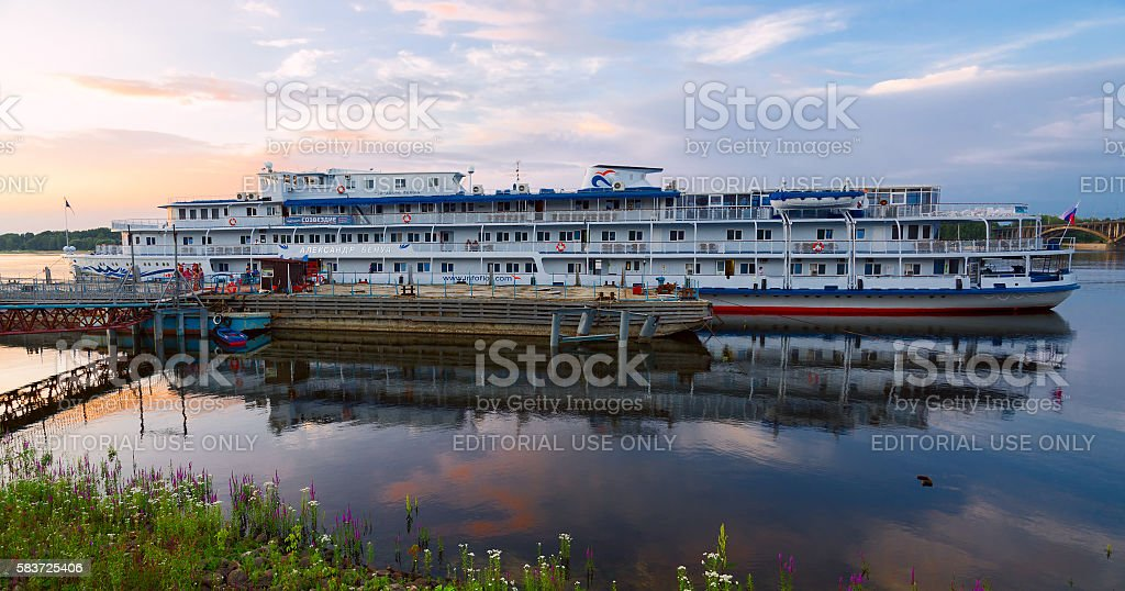 Cruise ship Alexandre Benois on river berth, Rybinsk, Russia stock photo