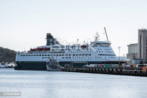 istock Cruise ship anchored at harbor 1223452600