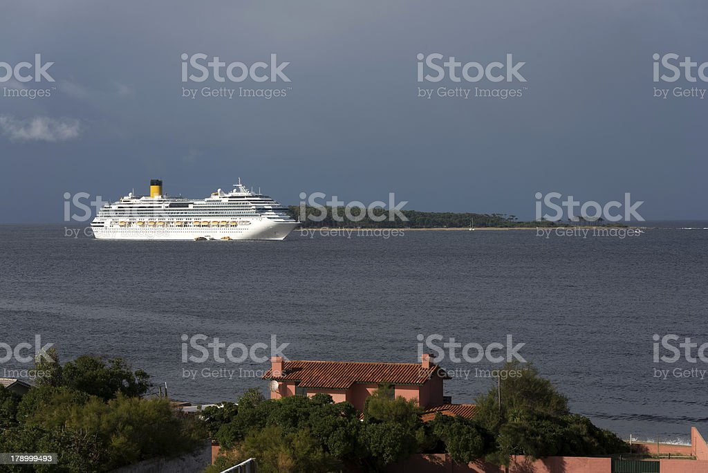 Cruise ship anchored at the island Gorriti stock photo